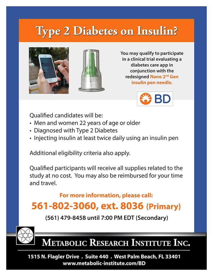 Diabetes care app for Type 2 Diabetes Study Flyer